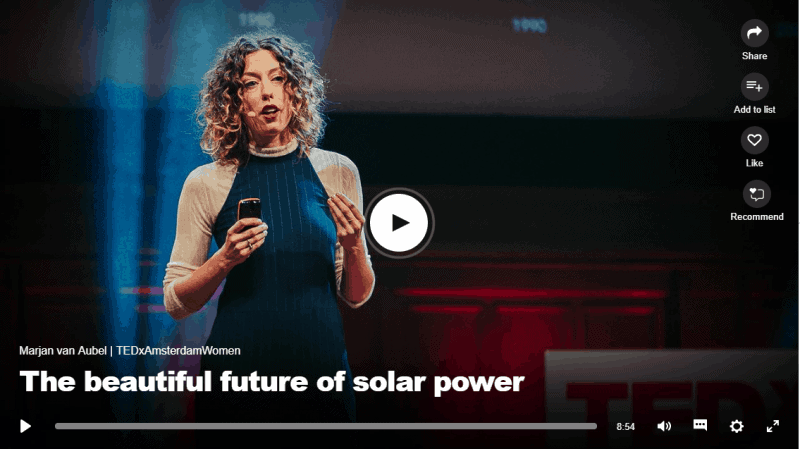 So honoured that Marjan van Aubel is the first Dutch TedxWoman speaker to be featured on TED.Com